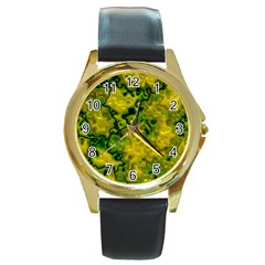 Wet Plastic, Yellow Round Gold Metal Watch