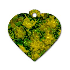 Wet Plastic, Yellow Dog Tag Heart (one Side)