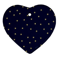 Navy/gold Stars Heart Ornament (two Sides)