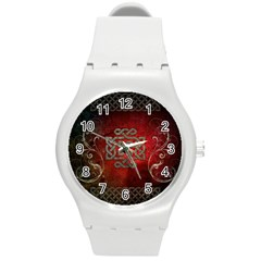 The Celtic Knot With Floral Elements Round Plastic Sport Watch (m)