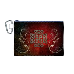 The Celtic Knot With Floral Elements Canvas Cosmetic Bag (m)