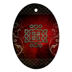 The Celtic Knot With Floral Elements Ornament (oval)