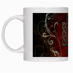 The Celtic Knot With Floral Elements White Mugs
