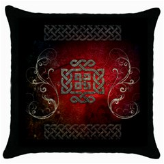 The Celtic Knot With Floral Elements Throw Pillow Case (black)