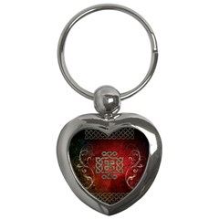 The Celtic Knot With Floral Elements Key Chains (heart)