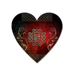 The Celtic Knot With Floral Elements Heart Magnet