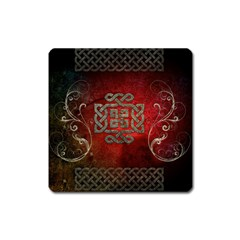 The Celtic Knot With Floral Elements Square Magnet