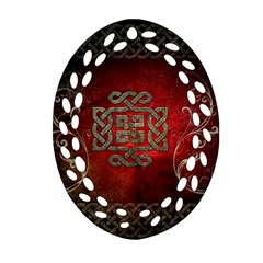The Celtic Knot With Floral Elements Ornament (oval Filigree)