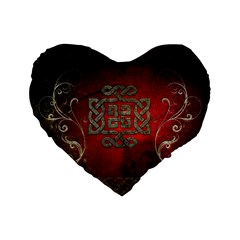 The Celtic Knot With Floral Elements Standard 16  Premium Flano Heart Shape Cushions
