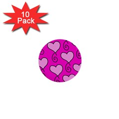 Curly Heart Bg  Pink 1  Mini Buttons (10 Pack)