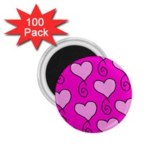 Curly Heart Bg  Pink 1 75  Magnets (100 Pack)