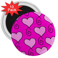 Curly Heart Bg  Pink 3  Magnets (10 Pack)