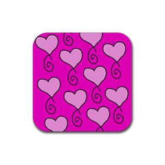 Curly Heart Bg  Pink Rubber Square Coaster (4 Pack)