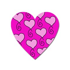 Curly Heart Bg  Pink Heart Magnet