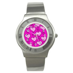 Curly Heart Bg  Pink Stainless Steel Watch