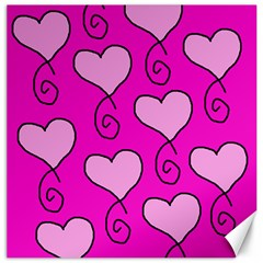 Curly Heart Bg  Pink Canvas 12  X 12