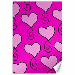 Curly Heart Bg  Pink Canvas 12  X 18