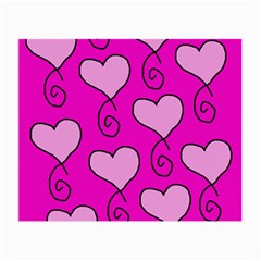 Curly Heart Bg  Pink Small Glasses Cloth (2 Side)