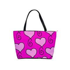 Curly Heart Bg  Pink Shoulder Handbags