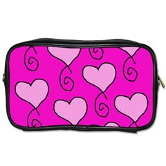 Curly Heart Bg  Pink Toiletries Bags 2 Side