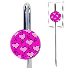 Curly Heart Bg  Pink Book Mark