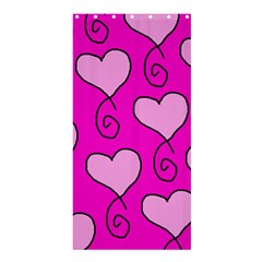 Curly Heart Bg  Pink Shower Curtain 36  X 72  (stall)