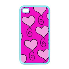 Curly Heart Bg  Pink Apple Iphone 4 Case (color)