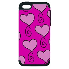 Curly Heart Bg  Pink Apple Iphone 5 Hardshell Case (pc+silicone)