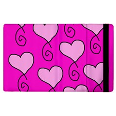 Curly Heart Bg  Pink Apple Ipad 3/4 Flip Case