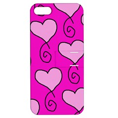 Curly Heart Bg  Pink Apple Iphone 5 Hardshell Case With Stand