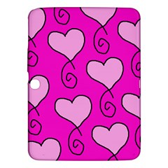 Curly Heart Bg  Pink Samsung Galaxy Tab 3 (10 1 ) P5200 Hardshell Case