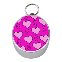 Curly Heart Bg  Pink Mini Silver Compasses