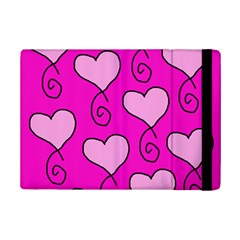 Curly Heart Bg  Pink Ipad Mini 2 Flip Cases