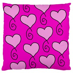 Curly Heart Bg  Pink Standard Flano Cushion Case (two Sides)
