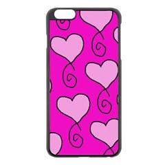 Curly Heart Bg  Pink Apple Iphone 6 Plus/6s Plus Black Enamel Case
