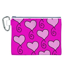 Curly Heart Bg  Pink Canvas Cosmetic Bag (l)