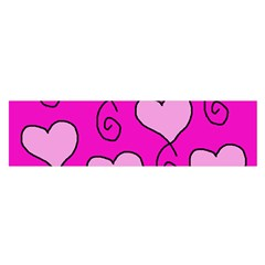 Curly Heart Bg  Pink Satin Scarf (oblong)