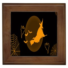 Day Hallowiin Ghost Bat Cobwebs Full Moon Spider Framed Tiles