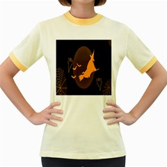 Day Hallowiin Ghost Bat Cobwebs Full Moon Spider Women s Fitted Ringer T Shirts