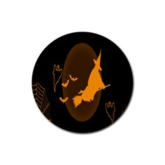 Day Hallowiin Ghost Bat Cobwebs Full Moon Spider Rubber Round Coaster (4 Pack)