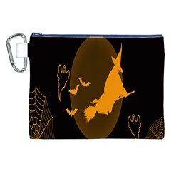 Day Hallowiin Ghost Bat Cobwebs Full Moon Spider Canvas Cosmetic Bag (xxl)