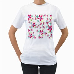 Flower Beauty Sexy Rainbow Sunflower Pink Green Blue Women s T Shirt (white) (two Sided)