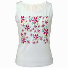 Flower Beauty Sexy Rainbow Sunflower Pink Green Blue Women s White Tank Top