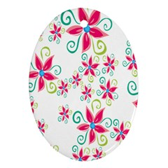 Flower Beauty Sexy Rainbow Sunflower Pink Green Blue Oval Ornament (two Sides)