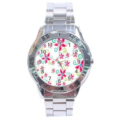 Flower Beauty Sexy Rainbow Sunflower Pink Green Blue Stainless Steel Analogue Watch