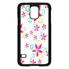 Flower Beauty Sexy Rainbow Sunflower Pink Green Blue Samsung Galaxy S5 Case (black)