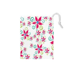 Flower Beauty Sexy Rainbow Sunflower Pink Green Blue Drawstring Pouches (small)