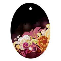 Flower Back Leaf Polka Dots Black Pink Ornament (oval)
