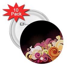 Flower Back Leaf Polka Dots Black Pink 2 25  Buttons (10 Pack)