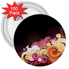 Flower Back Leaf Polka Dots Black Pink 3  Buttons (100 Pack)